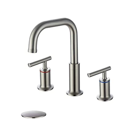Homelody Widespread Bathroom Faucet Brushed Nickel 360 Degree Swivel Spout 2 Handles 8 Inch Bathroom Sink Faucet With Pop Up Drain