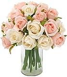 CEWOR 24 Heads Artificial Rose Flowers Bouquet Silk Flowers Rose for Home Bridal Wedding Party Festival Decor (2 Packs…