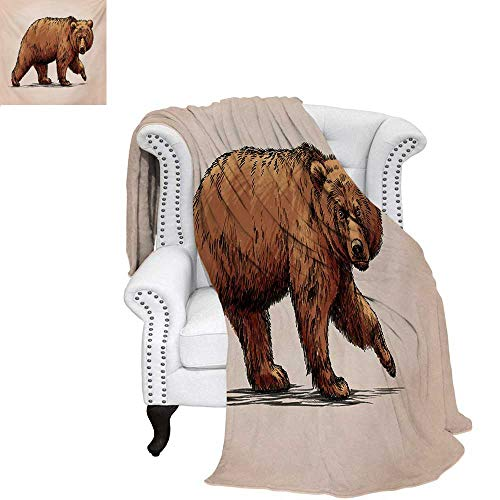 warmfamily Bear Summer Quilt Comforter Ink Drawing Style Wildlife Beast Carnivore Figure Walking Zoology Nature Themed Art Digital Printing Blanket 60