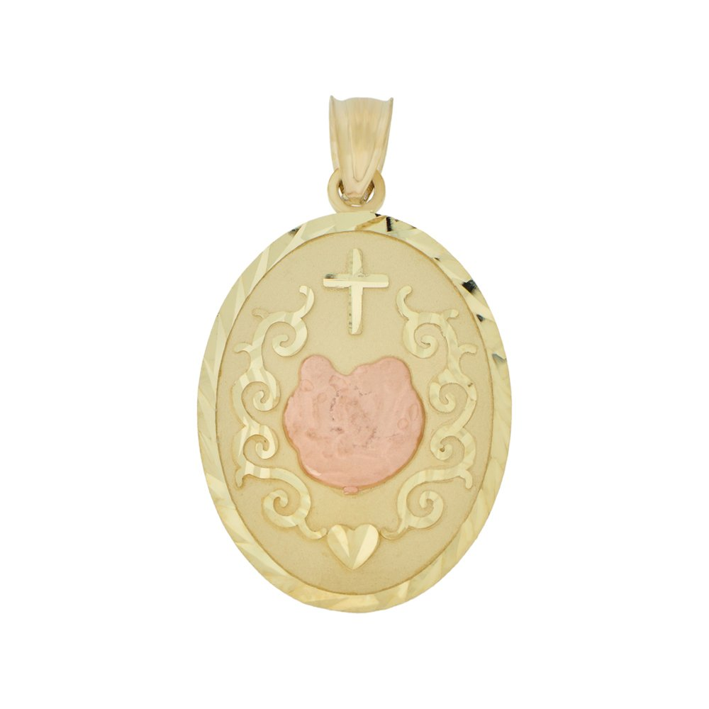 Baptism Christening Religious Pendant Charm Oval Medal 18mm 14k Yellow /& Rose Gold