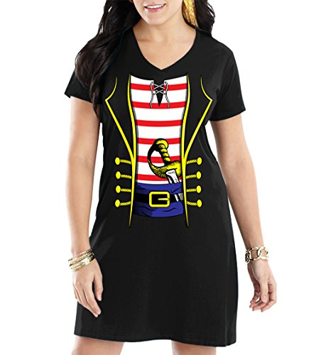 HAASE UNLIMITED Womens Pirate Costume V-Neck Nightshirt (Large, Black) ()