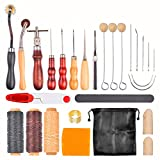 Kitspro 27 pcs Leather Sewing Tools DIY Hand Stitching Kit with Groover Awl Waxed Thimble Thread for Sewing Leather,Canvas or Other Leathercraft Projects Accessories