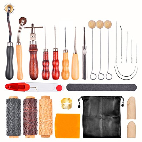 Kitspro 27 pcs Leather Sewing Tools DIY Hand Stitching Kit with Groover Awl Waxed Thimble Thread for Sewing Leather,Canvas or Other Leathercraft Projects Accessories by Kitspro