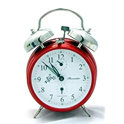 Sternreiter Double-bell Mechanical Alarm Clock - Fire Red