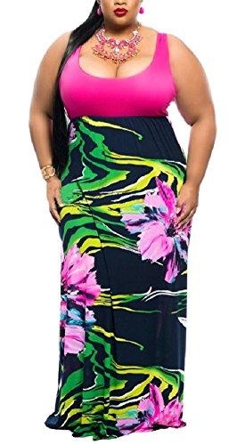 Silk Dress Empire - Wearlove Women's Plus Size Scoop Neck Sleeveless Tank Top Chevron Zig Zag Stripe Maxi Dress (XXX-Large, rose1)