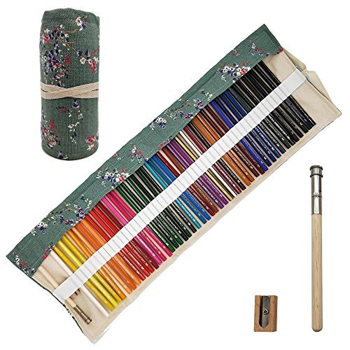 Minimin 48 Oil Based Colored Pencils Set, Soft Core Adult, Highly pigmented, Ideal Blending, Portable Roll-up Pencil Organizer, Best Coloring Books, Kids Artist Art Drawing,Sketching