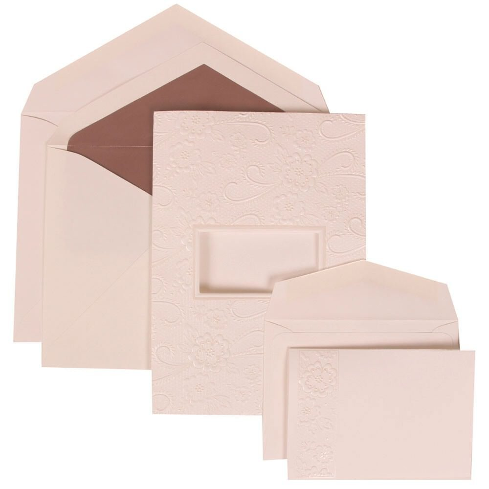 JAM Paper® Wedding Invitation Combo Set - White Card with Mauve Lined Envelope with Embossed Window - 1 Small & 1 Large - 150/pack