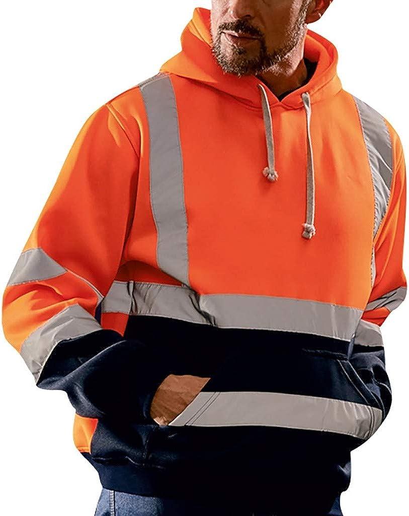 TTOOHHH Mens Road Work High Visibility Pullover Long Sleeve Hooded Sweatshirt Tops Blouse Jacket