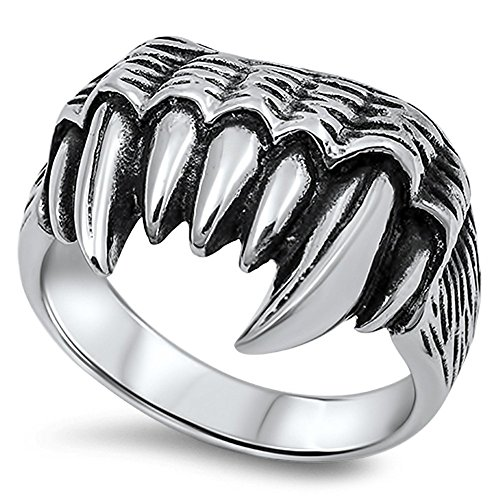 Fang Silver Ring (Fang Teeth Biker Large Ring New 316L Stainless Steel Jaws Razor Band Size 9)
