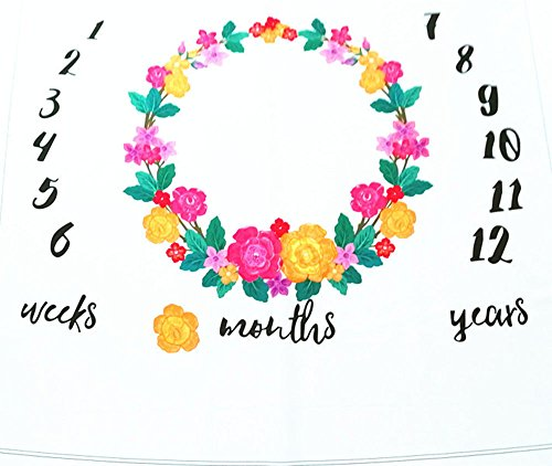 Baby Floral Wreath Car Balloon Print Milestone Blanket with Monthly Growth Chart Backdrop Newborn Baby Photography Props (Floral Wreath)