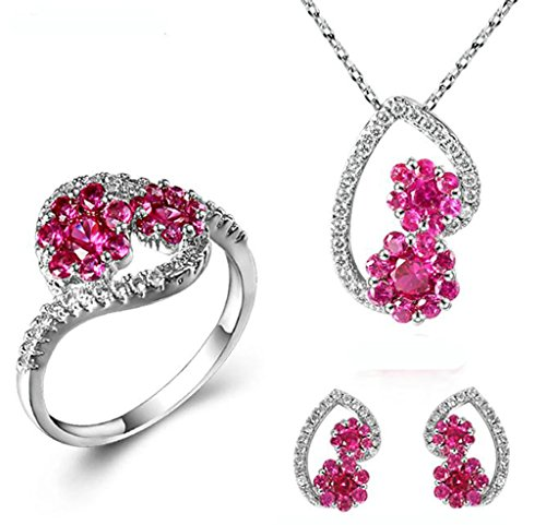 womens-earring-necklace-ring-sets-gold-plated-red-hollow-heart-flower-cubic-zirconia-cz-size-8-by-ai