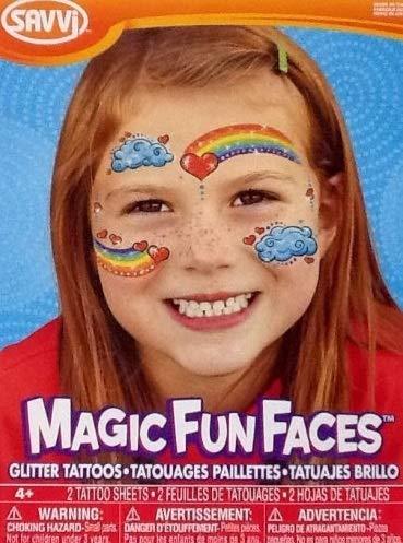 Temporary Tattoos ~ Glitter Rainbow Face Magic Fun Faces ~ 2 Sheets