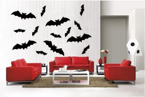 Newclew Halloween 13 Bats Large removable Vinyl Wall Decal Home Décor Large ()