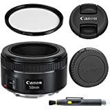 Canon EF 50mm f/1.8 STM: Lens with Glass UV Filter, Front and Rear Lens Caps, and Deluxe Cleaning Pen, Lens Accessory Bundle 50 mm f1.8 - International Version