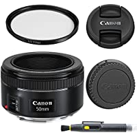Canon EF 50mm f/1.8 STM Lens with Glass UV Filter, Front and Rear Lens Caps, and Deluxe Cleaning Pen, Lens Accessory Bundle  - International Version