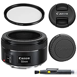 Canon EF 50mm f/1.8 STM: Lens with Glass UV Filter, Front and Rear Lens Caps, and Deluxe Cleaning Pen, Lens Accessory Bundle 50 mm f1.8 – International Version