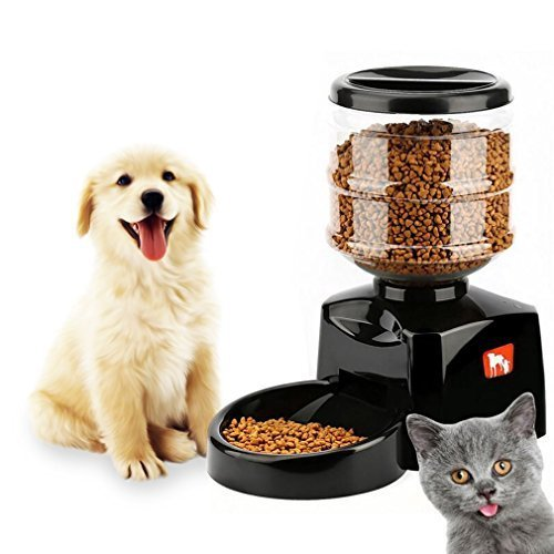 Healthy 5.5L Automatic Pet Feeder Timer Programmable with LCD Screen Sound Voice Message Recording Function Electric Pet Feeder Feed Bowl Dispenser (Black)