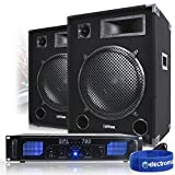 2x Max 15' PA Speakers + Power Amplifier + Cable Party Disco DJ System 2000W