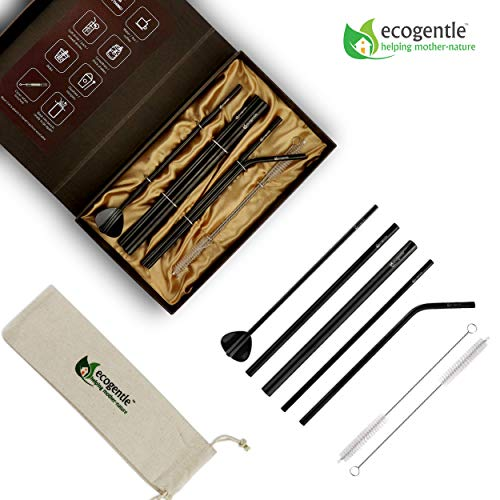 """Ecogentle Stainless Steel Reusable Straws – Personal/Gift Set (7 pcs, 8.5"""") – Eco-friendly Metal Straws for Any Occasion or Choice of Drink – FDA Approved & BPA Free – Fits Most Cups/Glasses"""