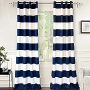 """DriftAway Mia Stripe Room Darkening Grommet Unlined Window Curtains, Set of Two Panels, each 52""""x96  (Navy)"""