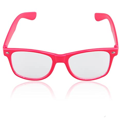 Clear Lens Neon Pink Frame Girl Glasses Eyeglasses Nerd: Amazon.co ...