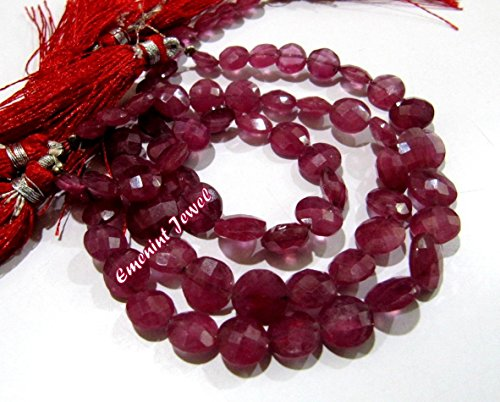 Exclusive Rare Natural Ruby coin Shape Briolette Beads / Untreated African Ruby Round Beads 8 to 11 mm Graduated Strand 8-9 inch / Faceted Beads