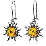 Dark Amber Sterling Silver Sun Hook Small Earrings