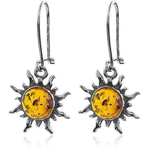Amber Sun Silver Ring - Dark Amber Sterling Silver Sun Hook Small Earrings