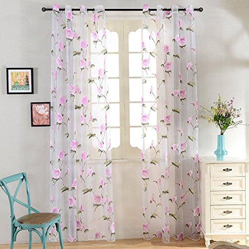 Top Finel Purple Flower Window Sheer Curtain Panels 76-inch Width X 96-inch Length,Grommets,Single panel