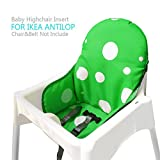 Ikea Antilop Highchair Seat Covers & Cushion by AT, Washable Foldable Baby Highchair Cover Ikea Childs Chair Insert Mat Cushion (Dark Green)