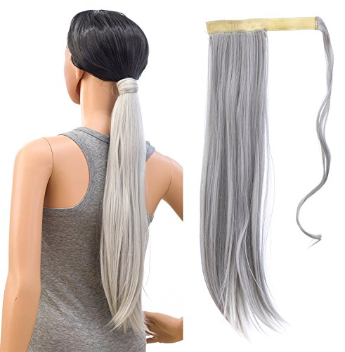 SWACC Women Long Straight/Curly Wavy Wrap Around Ponytail Extension Synthetic Hair Piece Clip in Hair extensions (Straight, Silver Gray) ()