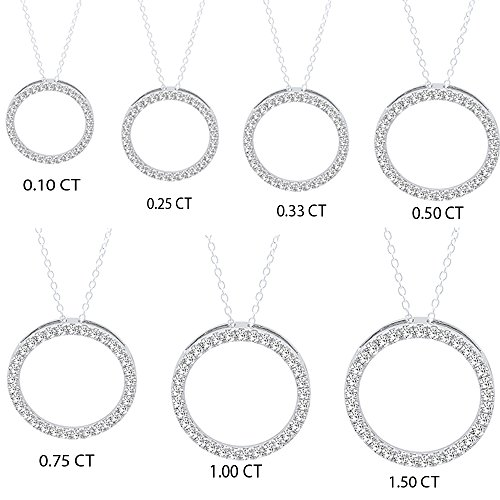 0.10 Carat (ctw) 18K White Gold Round White Diamond Circle Pendant (Silver Chain Included) 1/10 CT