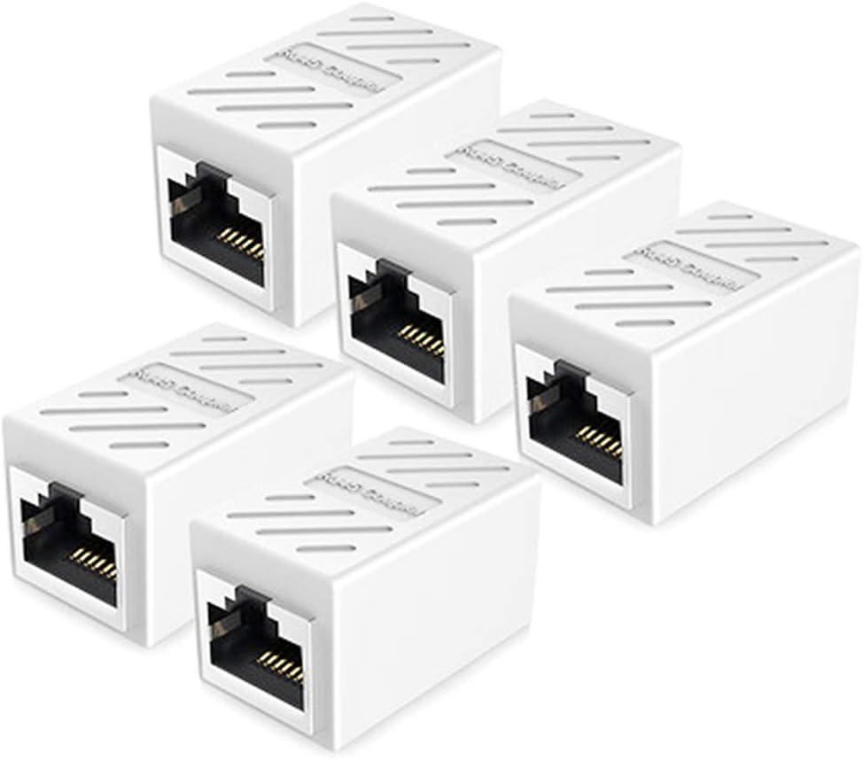 RJ45 Coupler, Ethernet Extension, PLUSPOE Network Connectors for Cat7/Cat6/Cat5e/Cat5 Ethernet Cable - Network Cable Coupler Female to Female (White 5 Pack)
