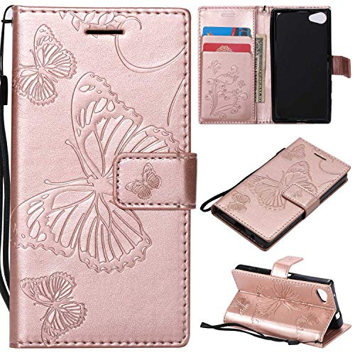 Price comparison product image Sony Xperia Z5 Compact Case,  UNEXTATI Sony Xperia Z5 Compact Flip Folio PU Leather Wallet Case with Magnetic Closure for Sony Xperia Z5 Compact (Rose Gold 1)