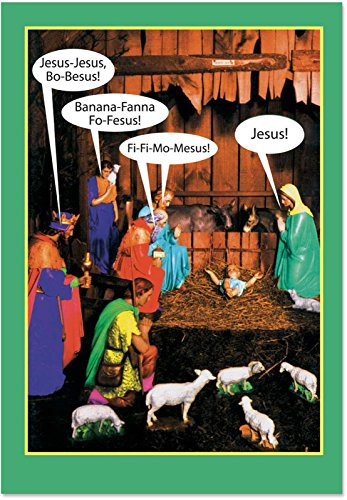 Scene Card Nativity Christmas (12 Boxed 'Jesus-bo-Besus' Christmas Cards with Envelopes (4.75 x 6.625 Inch), Funny Name Game Holiday Notes, Religious Humor, Nativity Scene Fun Christmas Cards, Jesus and Virgin Mary Cards B1348)