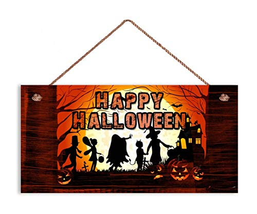 TOPFINES Happy Halloween Sign, Rustic Decor, Trick or Treat, 5