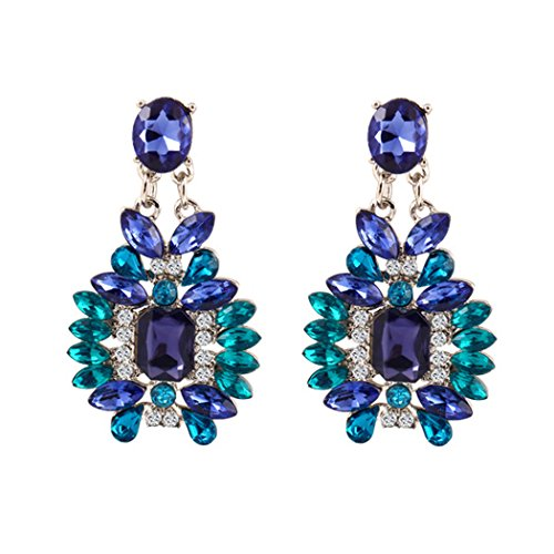 Duo La Unique Exaggerated Bohemian Cubic Zirconia Charm Lady Dangle Earrings (Blue Oyster Cult Pin compare prices)