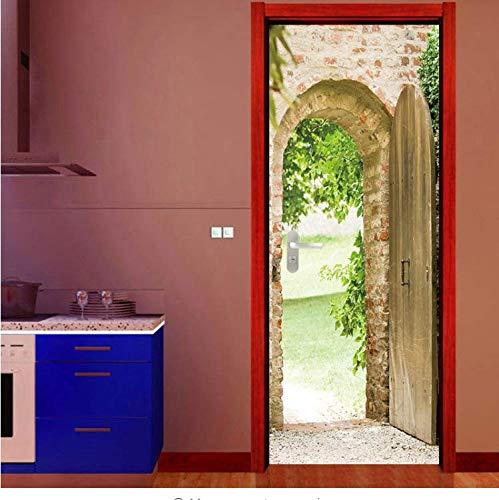 QiZhan541 Door stickerStone Steps Archway Door Sticker Wallpaper European Style Wall Home Bedroom Living Room Bedroom Decor Poster Waterproof Decal -