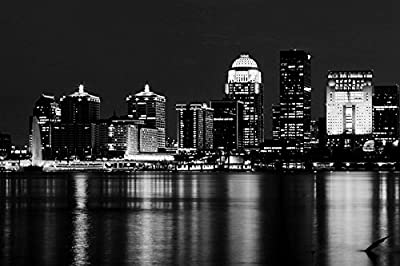 "Louisville Skyline Kentucky - Art Silk Fabric Canvas Rolled Wall Poster Print - Black and White - 36""x24"" (90x60cm) - Unframed"