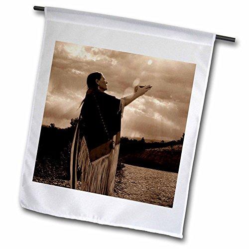 3dRose Danita Delimont - Native Americans - Native American medicine woman, Santa Fe, NM - US32 JMR0546 - Julien McRoberts - 12 x 18 inch Garden Flag (fl_92694_1) ()