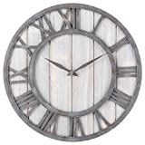 Oldtown Clocks OLDTOWN Farmhouse Metal & Solid Wood Noiseless Wall Clock (WhiteWash, 18-inch) Review