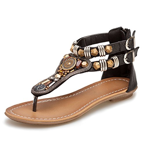 GetMine Women's Ankle Strappy Gladiator Sandals Beach Bohemia Thong Flat Sandal Shoes 0989