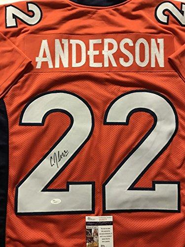 Autographed/Signed CJ C.J. Anderson Denver Orange Football Jersey JSA COA