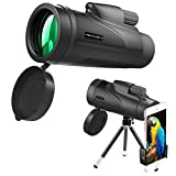 METALBAY High Power Monocular Telescope 12×50 Waterproof Monocular Scope with Tripod Smartphone Holder, HD Wide Angle BK7 Prism Scope, Low Light Night Vision for Bird Watching Hunting Hiking Outdoor