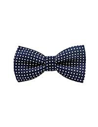 Boys Blue Polka Dot Pre-Tied Bow Ties for Formal Events (Navy Blue)