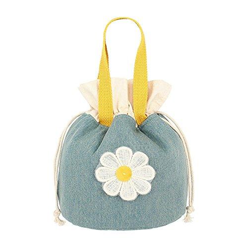qearly creativa Portable Demin–Borsa pranzo borsa porta pranzo Kuehl Borsa Tote Custodia per fiore giallo