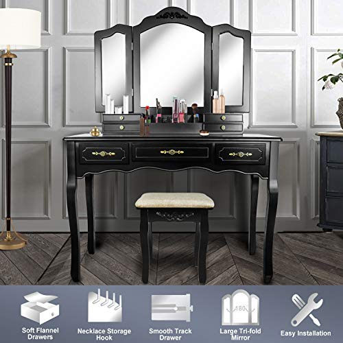 - Vanity Beauty Station,Large Tri-Folding Necklace Hooked Mirrors,6 Organization 7 Drawers Makeup Dress Table with Cushioned Stool Set - Black