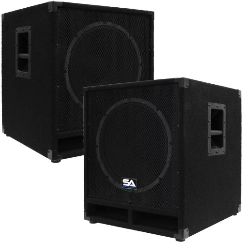 Seismic Audio - Baby-Tremor_PW-PKG1 - Pair of Powered 15'' Pro Audio Subwoofer Cabinets - 300 Watts RMS - PA/DJ Stage, Studio, Live Sound Active 15 Inch Subwoofers by Seismic Audio
