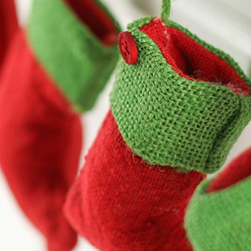 Factory Direct Craft Group of 6 Red Rustic Burlap Christmas Stockings With Festive Green Tops for Holiday Tree Trim and Home Decor