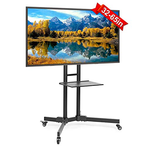 ABCCANOPY Mobile TV Stands for Flat Screens Rolling TV Cart with Wheels and Adjustable Shelf for 32-65 Inch LED LCD OLED Flat Screen, Plasma TVs TV Monitors ()
